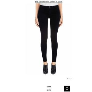 J Brand 815 Velvet Super Skinny in black